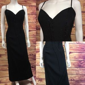 Vintage Bob Mackie Black Beaded Plunge Long Gown